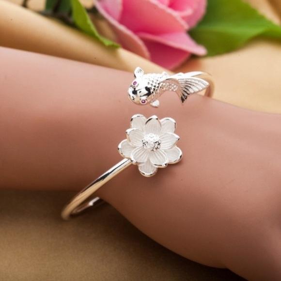 Jewelry Bracelet Silver Lotus Flower Koi Fish Bangle Poshmark